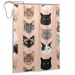 Cat Faces Shower Curtain , Shower Bathroom Curtain 55x72 Inch Waterproof Fabric with Hooks , Wildly used in bathroom and hotel etc.