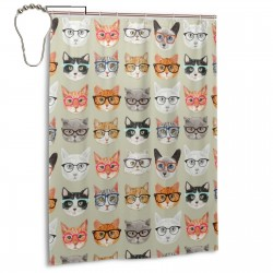 Cat Heads Pattern Shower Curtain , Shower Bathroom Curtain 55x72 Inch Waterproof Fabric with Hooks , Wildly used in bathroom and hotel etc.