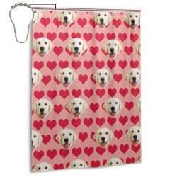 Caring Dog Head Shower Curtain , Shower Bathroom Curtain 55x72 Inch Waterproof Fabric with Hooks , Wildly used in bathroom and hotel etc.