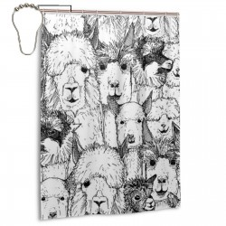 Black And White Alpaca Shower Curtain , Shower Bathroom Curtain 55x72 Inch Waterproof Fabric with Hooks , Wildly used in bathroom and hotel etc.