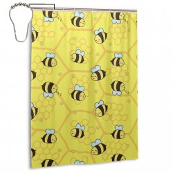 Bees Honeycomb Shower Curtain , Shower Bathroom Curtain 55x72 Inch Waterproof Fabric with Hooks , Wildly used in bathroom and hotel etc.