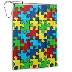 Autism Awareness Ribbon 3.jpeg Shower Curtain , Shower Bathroom Curtain 55x72 Inch Waterproof Fabric with Hooks , Wildly used in bathroom and hotel etc.