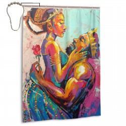 African King Queen Shower Curtain , Shower Bathroom Curtain 55x72 Inch Waterproof Fabric with Hooks , Wildly used in bathroom and hotel etc.