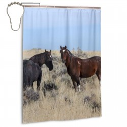 Wild Horses Shower Curtain , Shower Bathroom Curtain 55x72 Inch Waterproof Fabric with Hooks , Wildly used in bathroom and hotel etc.