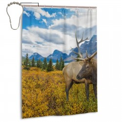 Wild Elk Shower Curtain , Shower Bathroom Curtain 55x72 Inch Waterproof Fabric with Hooks , Wildly used in bathroom and hotel etc.
