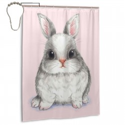 Cute Easter Rabbit Bunny Shower Curtain , Shower Bathroom Curtain 55x72 Inch Waterproof Fabric with Hooks , Wildly used in bathroom and hotel etc.