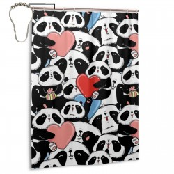 Cute Doodle Panda Shower Curtain , Shower Bathroom Curtain 55x72 Inch Waterproof Fabric with Hooks , Wildly used in bathroom and hotel etc.
