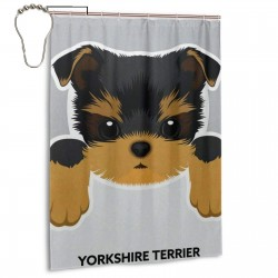Cute Dog Yorkshire Terrier Shower Curtain , Shower Bathroom Curtain 55x72 Inch Waterproof Fabric with Hooks , Wildly used in bathroom and hotel etc.