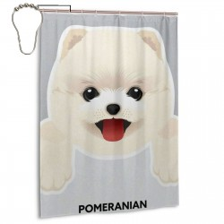 Cute Dog Pomeranian Shower Curtain , Shower Bathroom Curtain 55x72 Inch Waterproof Fabric with Hooks , Wildly used in bathroom and hotel etc.