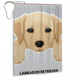 Cute Dog Labrador Retriever Shower Curtain , Shower Bathroom Curtain 55x72 Inch Waterproof Fabric with Hooks , Wildly used in bathroom and hotel etc.
