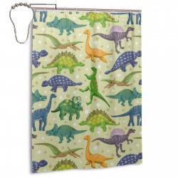 Cute Dinosaur Pattern Shower Curtain , Shower Bathroom Curtain 55x72 Inch Waterproof Fabric with Hooks , Wildly used in bathroom and hotel etc.