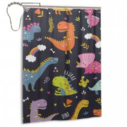 Cute Dinosaur Pattern Fun Shower Curtain , Shower Bathroom Curtain 55x72 Inch Waterproof Fabric with Hooks , Wildly used in bathroom and hotel etc.