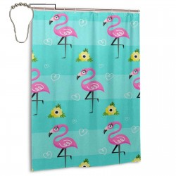 Cute Daisy Flamingo Shower Curtain , Shower Bathroom Curtain 55x72 Inch Waterproof Fabric with Hooks , Wildly used in bathroom and hotel etc.