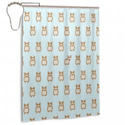 Cute Corgi011 Shower Curtain , Shower Bathroom Curtain 55x72 Inch Waterproof Fabric with Hooks , Wildly used in bathroom and hotel etc.