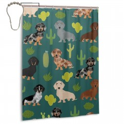 Cute Dachshund Dog Fabrics Designs Best Doxie Shower Curtain , Shower Bathroom Curtain 55x72 Inch Waterproof Fabric with Hooks , Wildly used in bathroom and hotel etc.