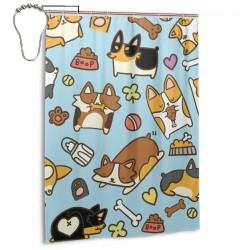 Cute Corgi Blue Shower Curtain , Shower Bathroom Curtain 55x72 Inch Waterproof Fabric with Hooks , Wildly used in bathroom and hotel etc.