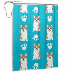 Cute Corgi Paw Shower Curtain , Shower Bathroom Curtain 55x72 Inch Waterproof Fabric with Hooks , Wildly used in bathroom and hotel etc.