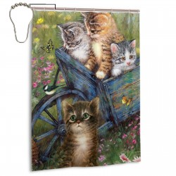 Cute Cats Shower Curtain , Shower Bathroom Curtain 55x72 Inch Waterproof Fabric with Hooks , Wildly used in bathroom and hotel etc.