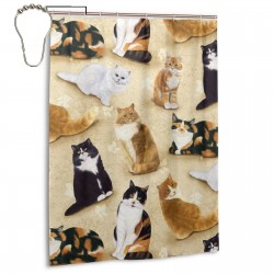Cute Cats Yellow Shower Curtain , Shower Bathroom Curtain 55x72 Inch Waterproof Fabric with Hooks , Wildly used in bathroom and hotel etc.