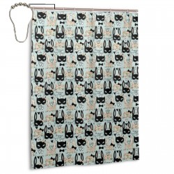 Cute Cats Bunny Pattern Shower Curtain , Shower Bathroom Curtain 55x72 Inch Waterproof Fabric with Hooks , Wildly used in bathroom and hotel etc.