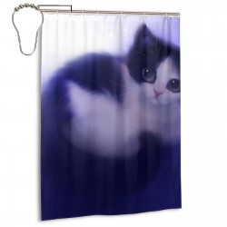 Cute Cat Purple Shower Curtain , Shower Bathroom Curtain 55x72 Inch Waterproof Fabric with Hooks , Wildly used in bathroom and hotel etc.