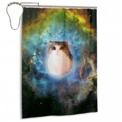 Cute Cat In Nebula Shower Curtain , Shower Bathroom Curtain 55x72 Inch Waterproof Fabric with Hooks , Wildly used in bathroom and hotel etc.