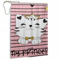Cute Cat Kitten Love Heart Striped Shower Curtain , Shower Bathroom Curtain 55x72 Inch Waterproof Fabric with Hooks , Wildly used in bathroom and hotel etc.