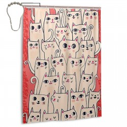 Cute Cat Collection Shower Curtain , Shower Bathroom Curtain 55x72 Inch Waterproof Fabric with Hooks , Wildly used in bathroom and hotel etc.