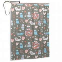 Cute Cat And Love Shower Curtain , Shower Bathroom Curtain 55x72 Inch Waterproof Fabric with Hooks , Wildly used in bathroom and hotel etc.