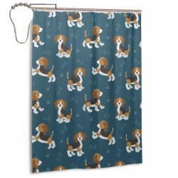 Cute Cartoon Dog Puppies Beagle Dog Shower Curtain , Shower Bathroom Curtain 55x72 Inch Waterproof Fabric with Hooks , Wildly used in bathroom and hotel etc.