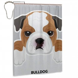 Cute Bulldog Dog Pattern Shower Curtain , Shower Bathroom Curtain 55x72 Inch Waterproof Fabric with Hooks , Wildly used in bathroom and hotel etc.