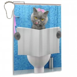Cute British Shorthair Cat Shower Curtain , Shower Bathroom Curtain 55x72 Inch Waterproof Fabric with Hooks , Wildly used in bathroom and hotel etc.