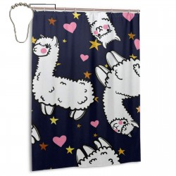 Cute Alpacas Love Heart Shower Curtain , Shower Bathroom Curtain 55x72 Inch Waterproof Fabric with Hooks , Wildly used in bathroom and hotel etc.