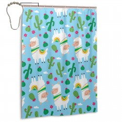 Cute Alpaca Pattern With Plants Shower Curtain , Shower Bathroom Curtain 55x72 Inch Waterproof Fabric with Hooks , Wildly used in bathroom and hotel etc.