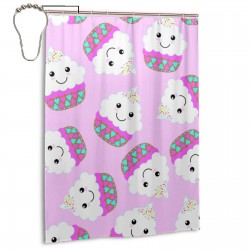 Cupcake Pattern Shower Curtain , Shower Bathroom Curtain 55x72 Inch Waterproof Fabric with Hooks , Wildly used in bathroom and hotel etc.