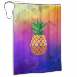 Creative Pineapple Shower Curtain , Shower Bathroom Curtain 55x72 Inch Waterproof Fabric with Hooks , Wildly used in bathroom and hotel etc.