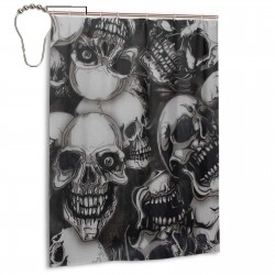 Creeper Skull Shower Curtain , Shower Bathroom Curtain 55x72 Inch Waterproof Fabric with Hooks , Wildly used in bathroom and hotel etc.