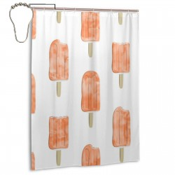 Creamsicle On White Shower Curtain , Shower Bathroom Curtain 55x72 Inch Waterproof Fabric with Hooks , Wildly used in bathroom and hotel etc.