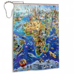 Crazy Wonderful World Shower Curtain , Shower Bathroom Curtain 55x72 Inch Waterproof Fabric with Hooks , Wildly used in bathroom and hotel etc.
