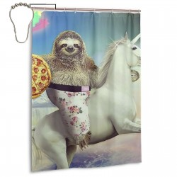 Crazy Sloth Shower Curtain , Shower Bathroom Curtain 55x72 Inch Waterproof Fabric with Hooks , Wildly used in bathroom and hotel etc.
