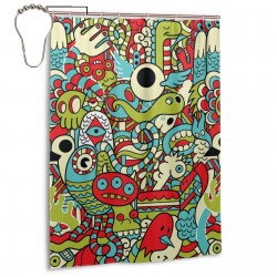 Crazy Illustration Shower Curtain , Shower Bathroom Curtain 55x72 Inch Waterproof Fabric with Hooks , Wildly used in bathroom and hotel etc.