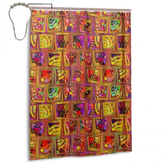 CRAZY ICE CUBES RAINBOW CANDY PARADISE ORANGE Shower Curtain , Shower Bathroom Curtain 55x72 Inch Waterproof Fabric with Hooks , Wildly used in bathroom and hotel etc.