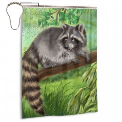 Raccoon Jungle Shower Curtain , Shower Bathroom Curtain 55x72 Inch Waterproof Fabric with Hooks , Wildly used in bathroom and hotel etc.