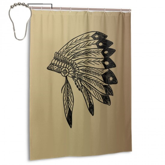 Native American Indian Headdress Shower Curtain , Shower Bathroom Curtain 55x72 Inch Waterproof Fabric with Hooks , Wildly used in bathroom and hotel etc.