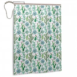 Mexican Texas Cactus Plants Shower Curtain , Shower Bathroom Curtain 55x72 Inch Waterproof Fabric with Hooks , Wildly used in bathroom and hotel etc.