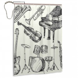 Jazz Music Shower Curtain , Shower Bathroom Curtain 55x72 Inch Waterproof Fabric with Hooks , Wildly used in bathroom and hotel etc.