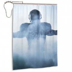 Heroic Shaped Rugby Player Silhouette Shower Curtain , Shower Bathroom Curtain 55x72 Inch Waterproof Fabric with Hooks , Wildly used in bathroom and hotel etc.