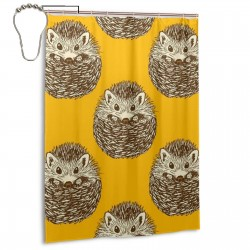 Hedgehog Pattern Shower Curtain , Shower Bathroom Curtain 55x72 Inch Waterproof Fabric with Hooks , Wildly used in bathroom and hotel etc.