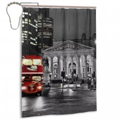 European Cityscape London.jpeg Shower Curtain , Shower Bathroom Curtain 55x72 Inch Waterproof Fabric with Hooks , Wildly used in bathroom and hotel etc.