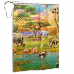 Dinosaur Jungle Shower Curtain , Shower Bathroom Curtain 55x72 Inch Waterproof Fabric with Hooks , Wildly used in bathroom and hotel etc.